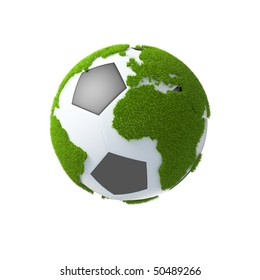 soccer ball as earth with continents covered with grass