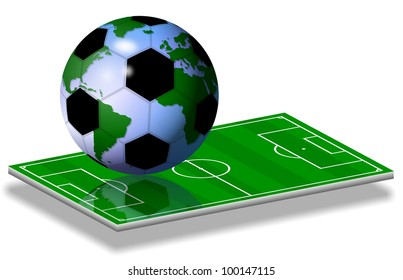 soccer ball and earth globe combined together on a soccer field / soccer world game