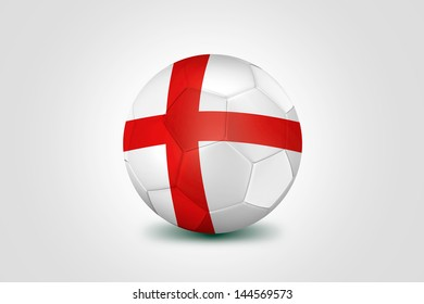 Soccer ball with England flag isolated on white