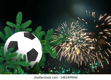 Soccer ball, Festive christmas decoration with firework for christmas and new year