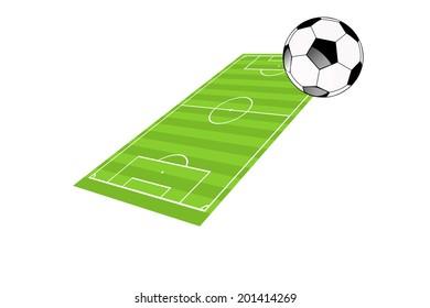 Soccer ball in a soccer field illustration.