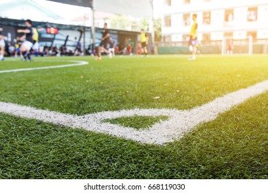 Soccer ball field with match competition background