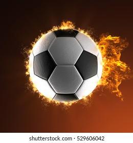 soccer ball in fire, 3D illustration
