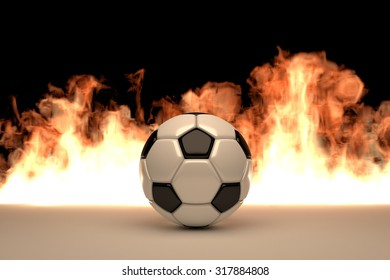 soccer ball with fire front background