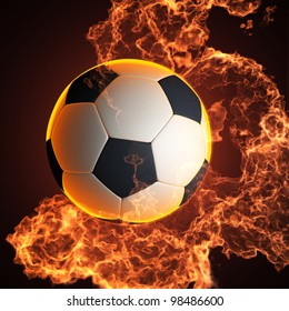 soccer ball in fire made in 3D