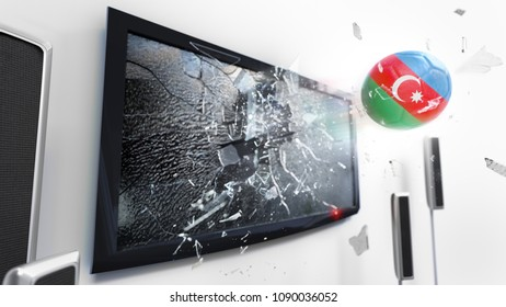 Soccer ball with the flag of Azerbaijan flying through a shattering tv screen.(3D rendering series)