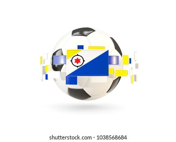 Soccer ball with flag of bonaire floating around. 3D illustration
