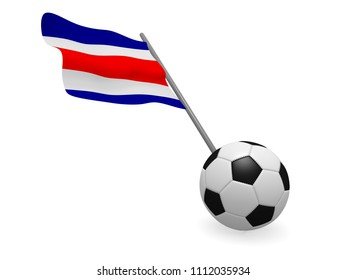 Soccer ball with the flag of Costa Rica, soccer championship concept 3d rendering