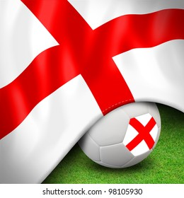 Soccer ball and flag euro england for euro 2012 group d