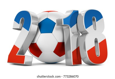 Soccer ball and flag of the France number of 2018 on a white background. 3d rendering.