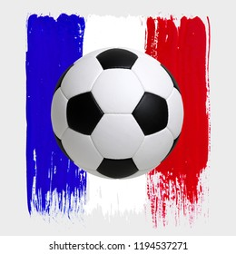 Soccer ball with flag isolated on white background
