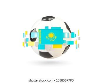 Soccer ball with flag of kazakhstan floating around. 3D illustration