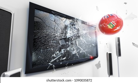 Soccer ball with the flag of Manitoba flying through a shattering tv screen.(3D rendering series)