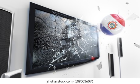 Soccer ball with the flag of Paraguay flying through a shattering tv screen.(3D rendering series)