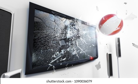 Soccer ball with the flag of Peru flying through a shattering tv screen.(3D rendering series)