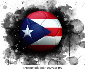 Soccer ball with flag of Puerto Rico, close up, watercolor effect on white background