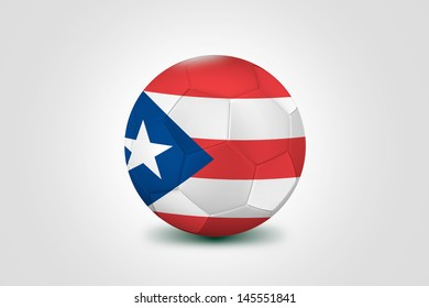 Soccer ball with the flag of Puerto Rico isolated on white