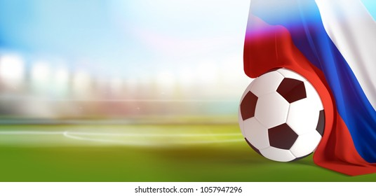 soccer ball flag of Russia blurred soccer stadium 3d rendering