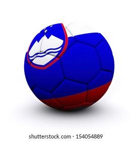 Soccer ball flag Slovenia - 3d render