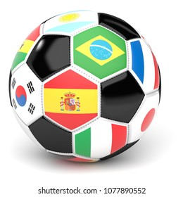 Soccer Ball With Flags 3D Render