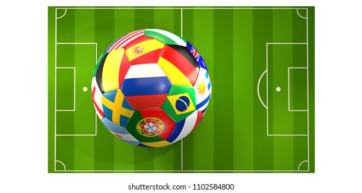 soccer ball flags concept 3d rendering over soccer field