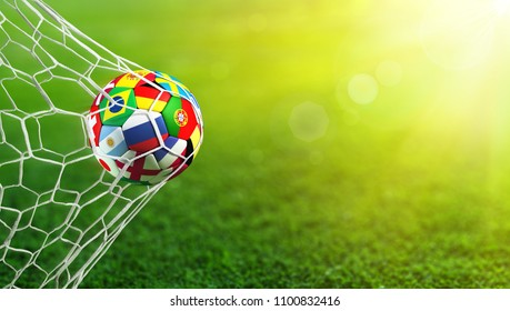 Soccer Ball Flags In Goal - Russia 2018 - Contain 3d Rendering