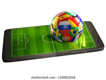 soccer ball with flags at mobile phone with soccer field 3d rendering