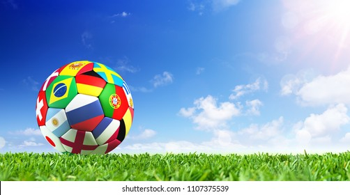 Soccer Ball Flags On Grass - 2018 - Contain 3d Illustration