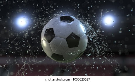 Soccer ball flying through water drops. 3d illustration