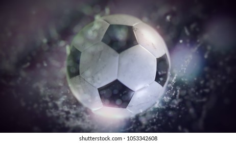 Soccer ball flying through water drops 3d illustration