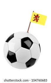 Soccer ball or football decorated with a small provincial flag of Zuid Holland on a tooth stick