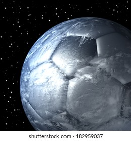 Soccer ball, football shaped planet earth free floating in space, 3d rendering