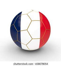 soccer ball france flag 3d rendering image