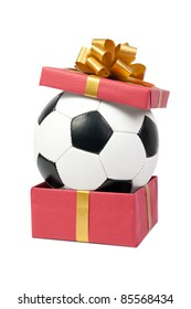 Soccer ball in a gift box. Isolated on white background.