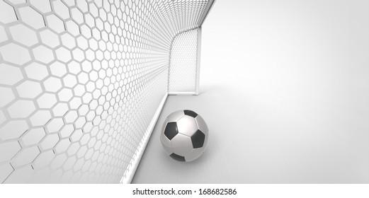 soccer ball in goal. football