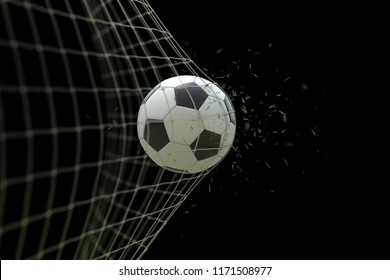 soccer ball in goal with grass leaves that raises effect on black background, concept of competition and leisure game equipment