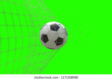 soccer ball in goal with grass leaves that raises effect on chroma key green screen background, concept of competition and leisure game equipment