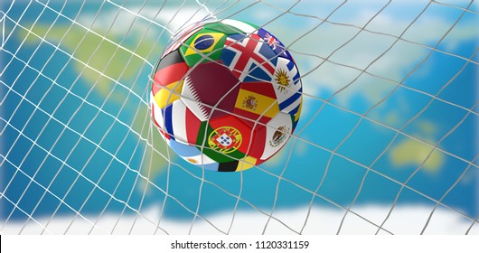 soccer ball in soccer goal net design with flag of Qatar 3d-illustration. elements of this image furnished by NASA