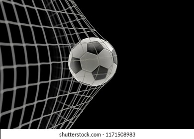 soccer ball in goal on black background, concept of competition and leisure game equipment