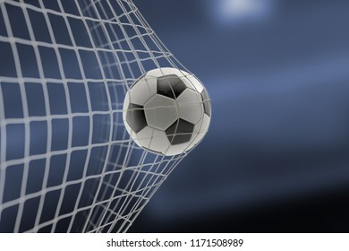 soccer ball in goal on blur blue background, concept of competition and leisure game equipment