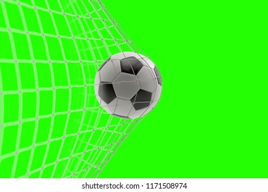 soccer ball in goal on chroma key green screen background, concept of competition and leisure game equipment