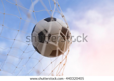 soccer ball in goal and sunset