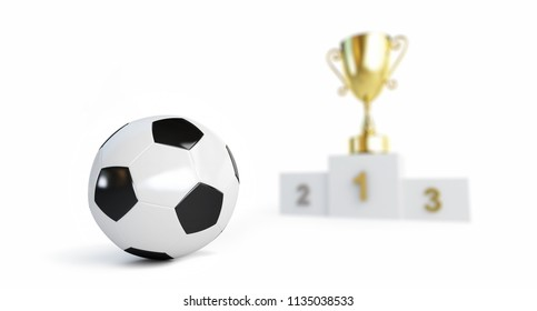 soccer ball, gold cup on the pedestal bluer  on a white background 3D illustration, 3D rendering