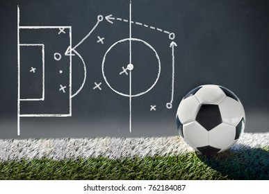 Soccer ball with graphic a tactics of soccer game with white chalk. All screen content is designed by us and not copyrighted by others and created with digitizing tablet and image editor