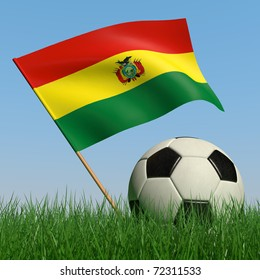 Soccer ball in the grass and the flag of Bolivia against the blue sky. 3d