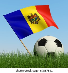Soccer ball in the grass and the flag of Moldova against the blue sky. 3d