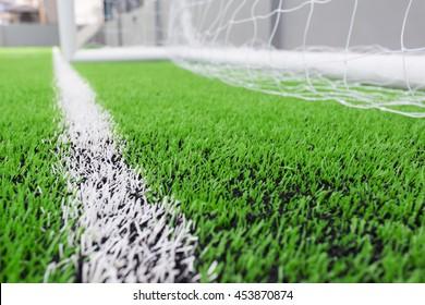 Fußball-grünes Grasfeld, Fußball-Linie