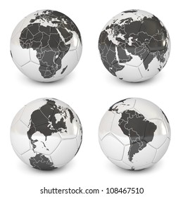 Soccer ball with an image of the earth. World Globe Maps. Icon isolated on white background. 3d render