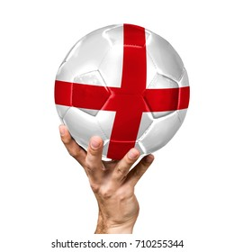 soccer ball with the image of the flag of England, ball isolated on white background.
