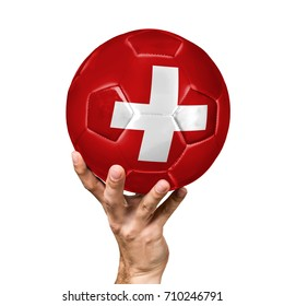 soccer ball with the image of the flag of Switzerland, ball isolated on white background.